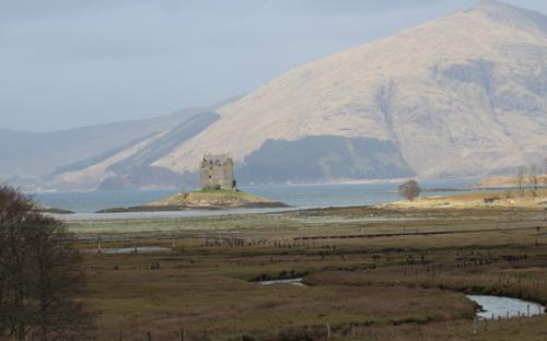 Lovely views of the salt marsh, Castle Stalker and the hills beyond