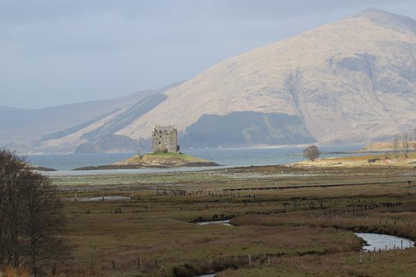 Lovely views of the salt marsh, Castle Stalker and the hills beyond