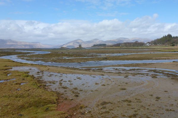 Distant views of the salt marsh, Castle Stalker and the hills beyond
