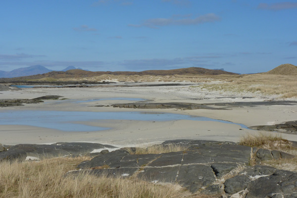 Machair and sand dunes behing Sanna Bay