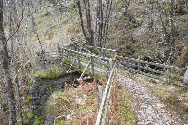 Rickety bridge on the path to the Strontian Leadmines