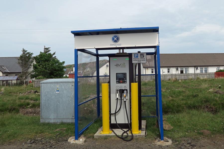 EVOLT Rapid Charger in Monadh Mor Car park in Fionnphort