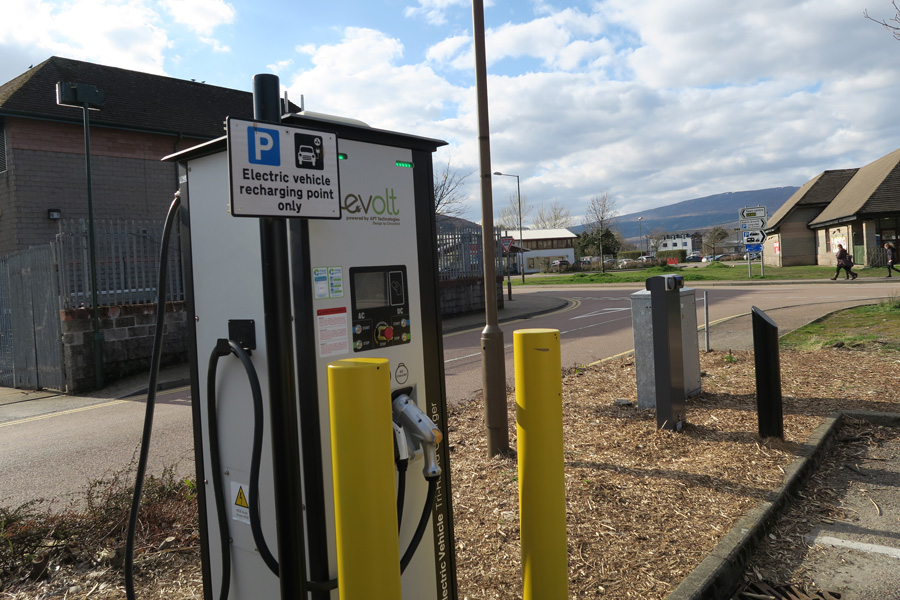 Electric Vehicle Rapid Charger in An Aird Car Park, Fort William