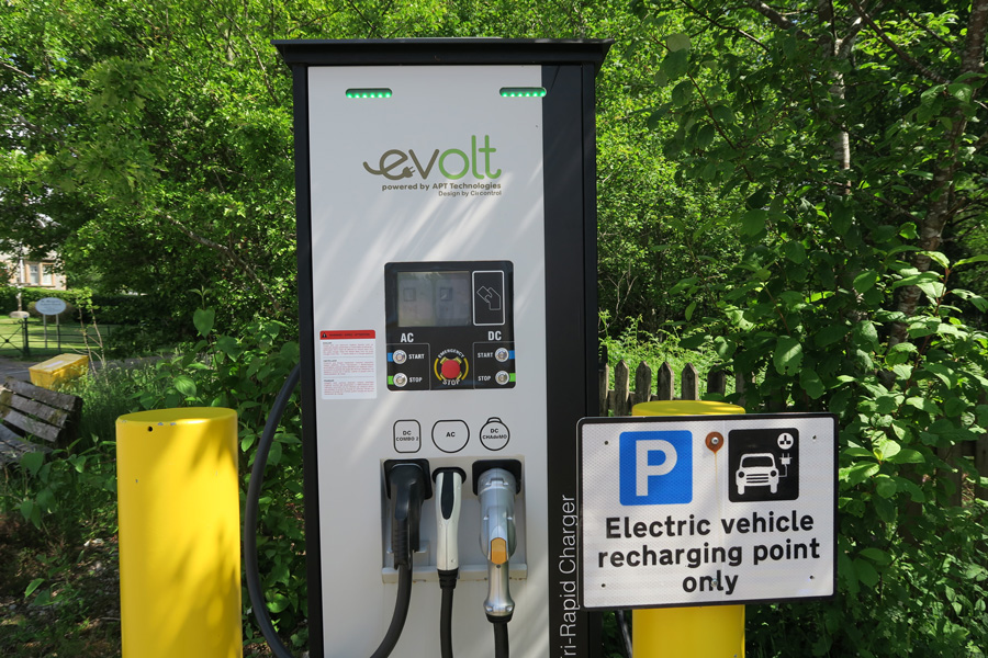 EVOLT Rapid Charger in The Community Hall car park in Roy Bridge