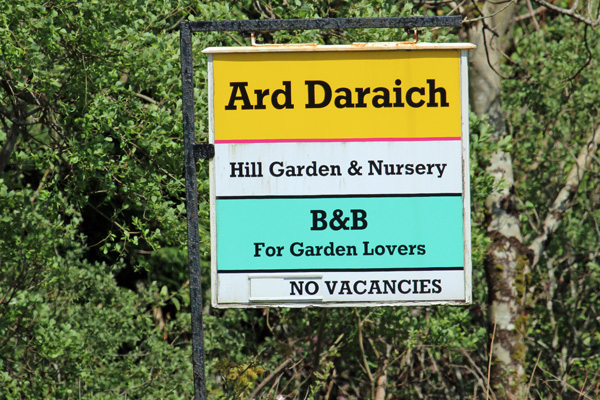 The sign for Ard Daraich on the A861 near Ardgour