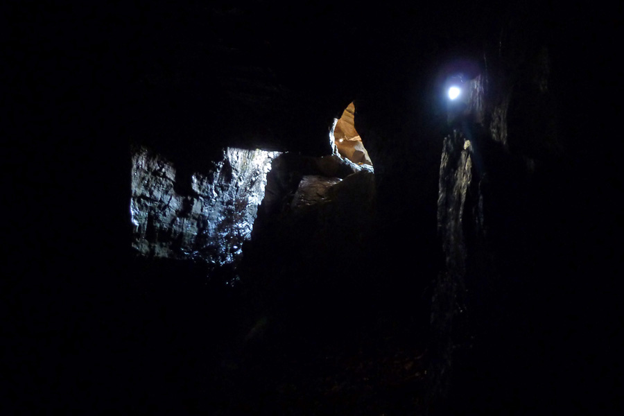 Prince Charlie's cave in the dark