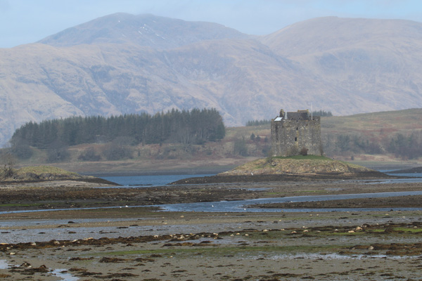 Castle Stalker at low tide