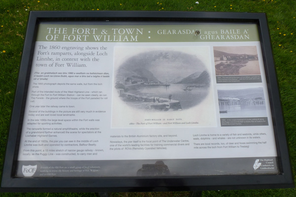 One of the interpretation boards about the Fort