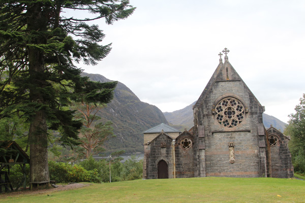 Glenfinnan Church as seen from the A830 on The Road to The Isles