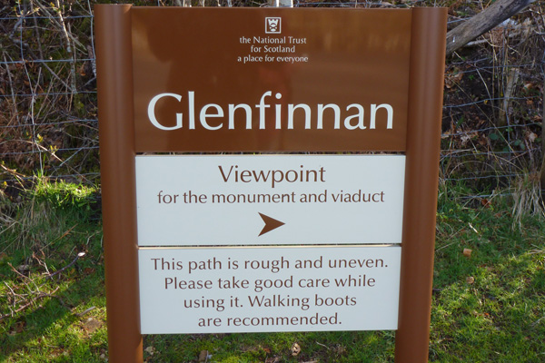 The is a short walk to a good viewpoint with views of the Glenfinnan Monument and viaduct