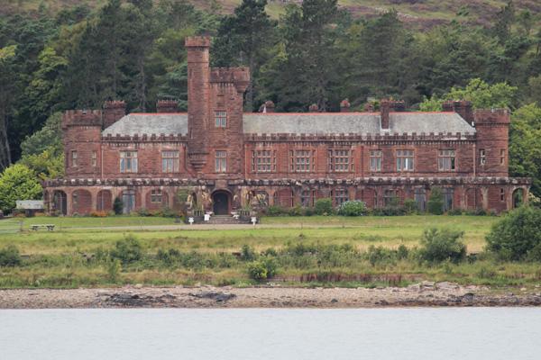 Kinloch Castle seen from the approaching ferry