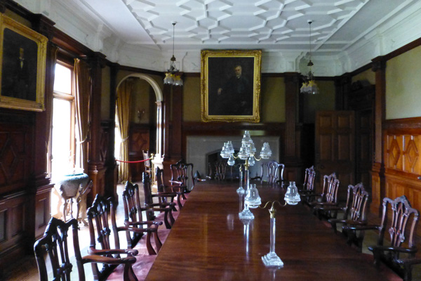 Dining room with portrait of John Bullough and son