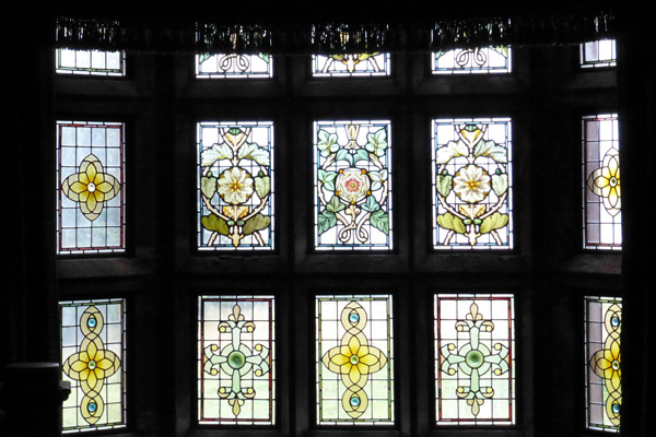One of the many stained glass windows in Kinloch Castle