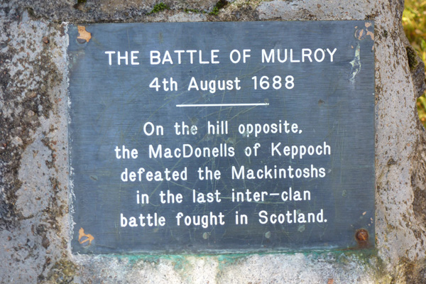 The plaque on the Mulroy Monument