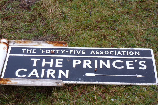 The Prince's Cairn, 1745 Association Sign after a winter storm