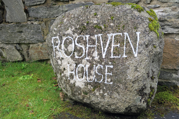 Signage at the entrance to Roshven House