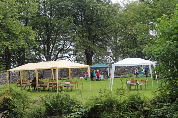 Tea tents at the garden open day at Roshven House