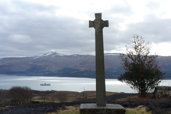 Fourteenth century Celtic Cross overlooking the Sound of Mull