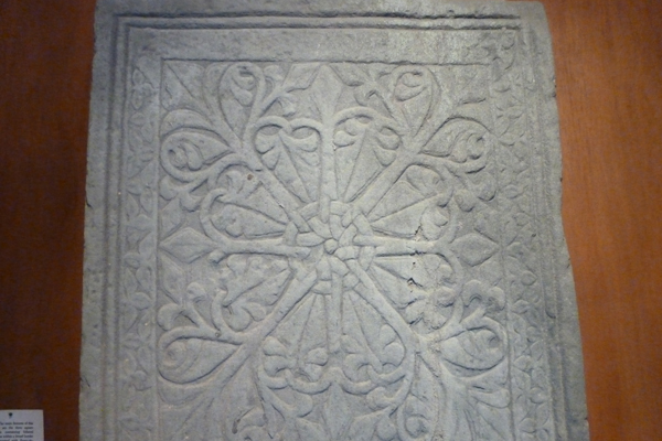 A portion of one of the Carved Stones of Kiel with elaborate engravings
