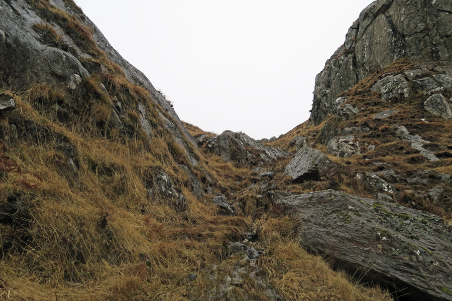 The Muidhe - the path up the hill goes through a narrow gully
