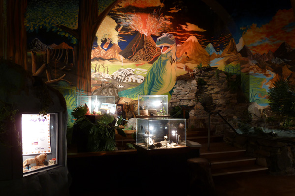 Jurassic-themed Mural and exhibits