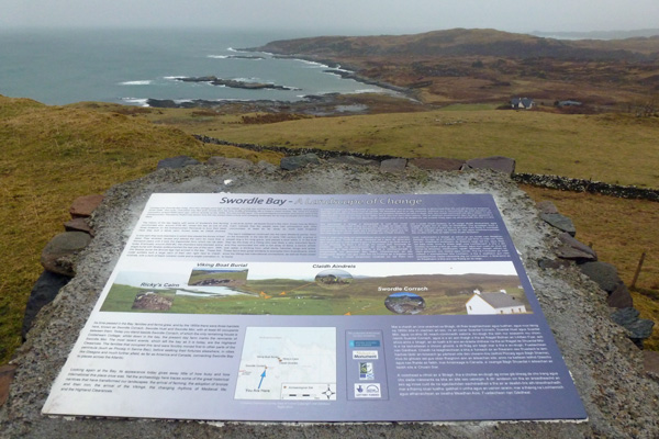 The Information board with details of the archaeological sites around Swordle Bay