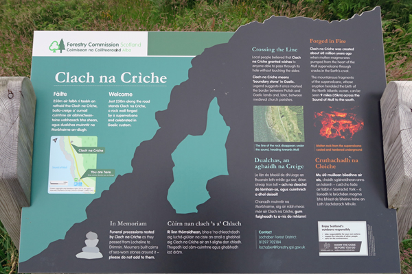 The interpretation board in the car park for Clach na Criche