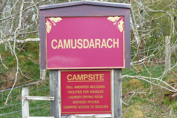 The sign for Camusdarach Campsite