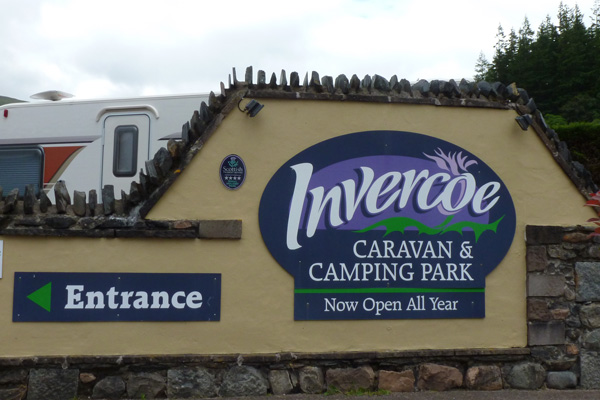 The sign for The Invercoe Caravan and Camping Park