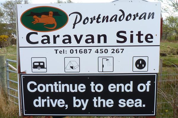 The sign for Portnadoran Caravan Site