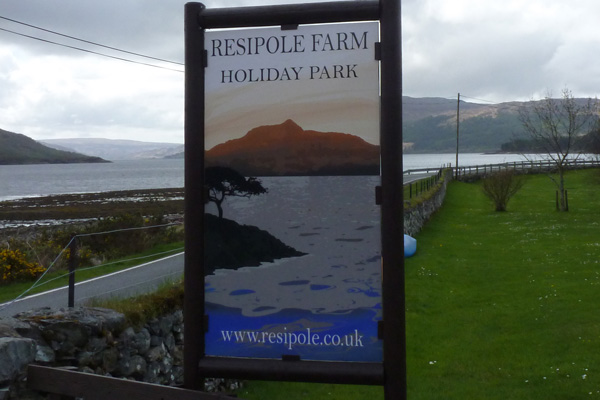 The sign for Resipole Holiday Park