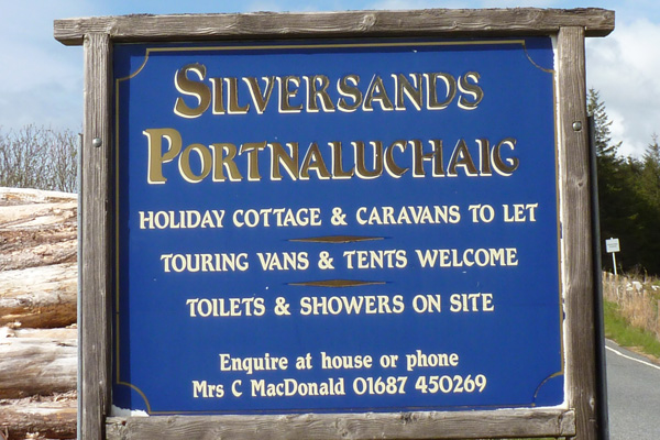 The sign for Silversands camping and caravan site