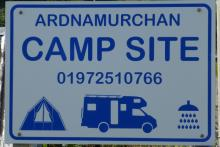 The sign for Ardnamurchan Campsite