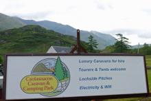 The sign for Caolasnacon Caravan and Camping Park