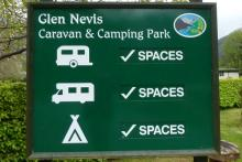 The sign for the Glen Nevis Camping & Caravan Park