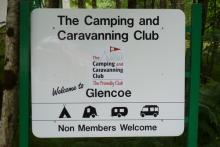 The sign for The Camping and Caravanning Club Site at Glencoe