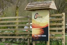 The sign for Sunart Camping in Strontian
