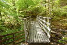 Wooden bridge across Allt Coire Mulrooney