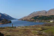 A view of the Glenfinnan Monument from the National Trust viewpoint