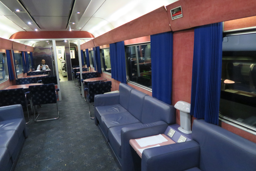 The Caledonian Sleeper - the lounge car for evening meals from Euston