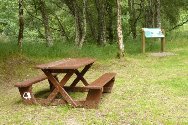 Picnic bench in the car park