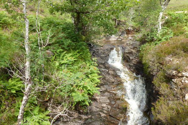 A waterfall at the top of the path