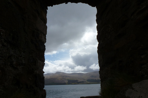and through the arched window....