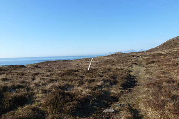 The footpath to the beach crosses heathland