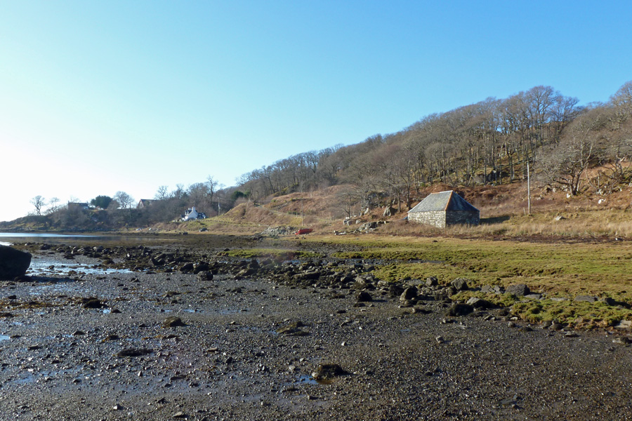 Looking back towards the stone boathouse at Druimindarrach