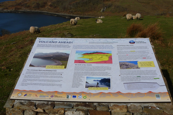 The Lochaber geopark interpretation board at teh Camas nan Gaell car park