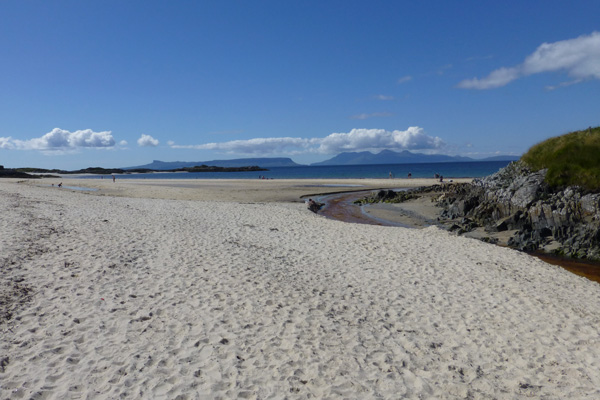 A first sight of the beach at Camusdarach - Ben's beach in the film Local Hero