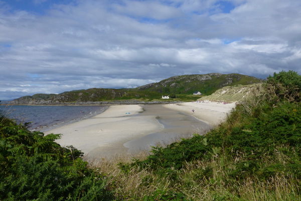 Looking along the beach at Camusdarach