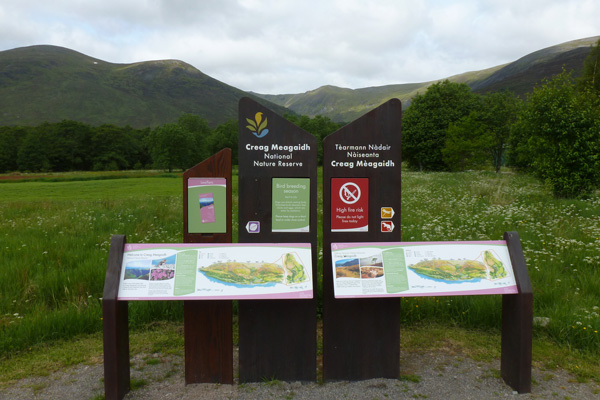 Information boards in Creag Meagaidh National Nature Reserve