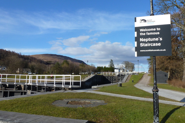 The start of Neptune's Staircase on the Caledonian Canal